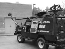 Police vehicle carrying surveillance equipment