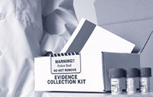 Evidence collection kit on a table.