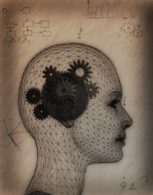Illustration of the human head with brain represented as gears.