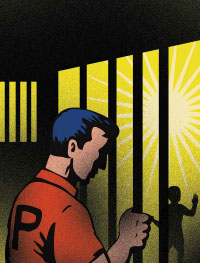 Prisoner looks out through bars at a child.