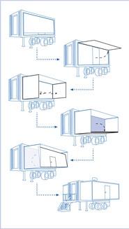 Diagram showing tranformation of a shipping containter to a mobile lab