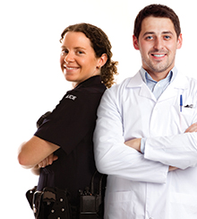 Portrait of adult Caucasian policewomen standing back to back with male scientist