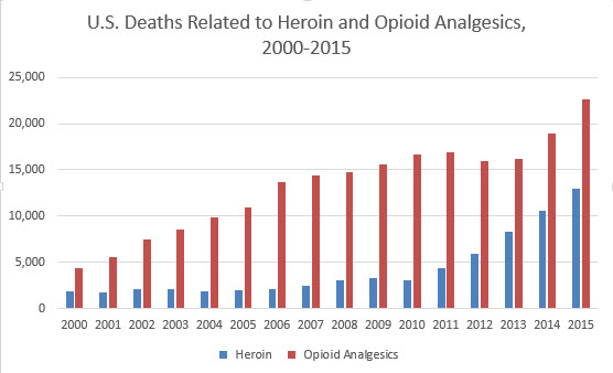 Deaths from heroin and opiod analgesics have spiked in recent years