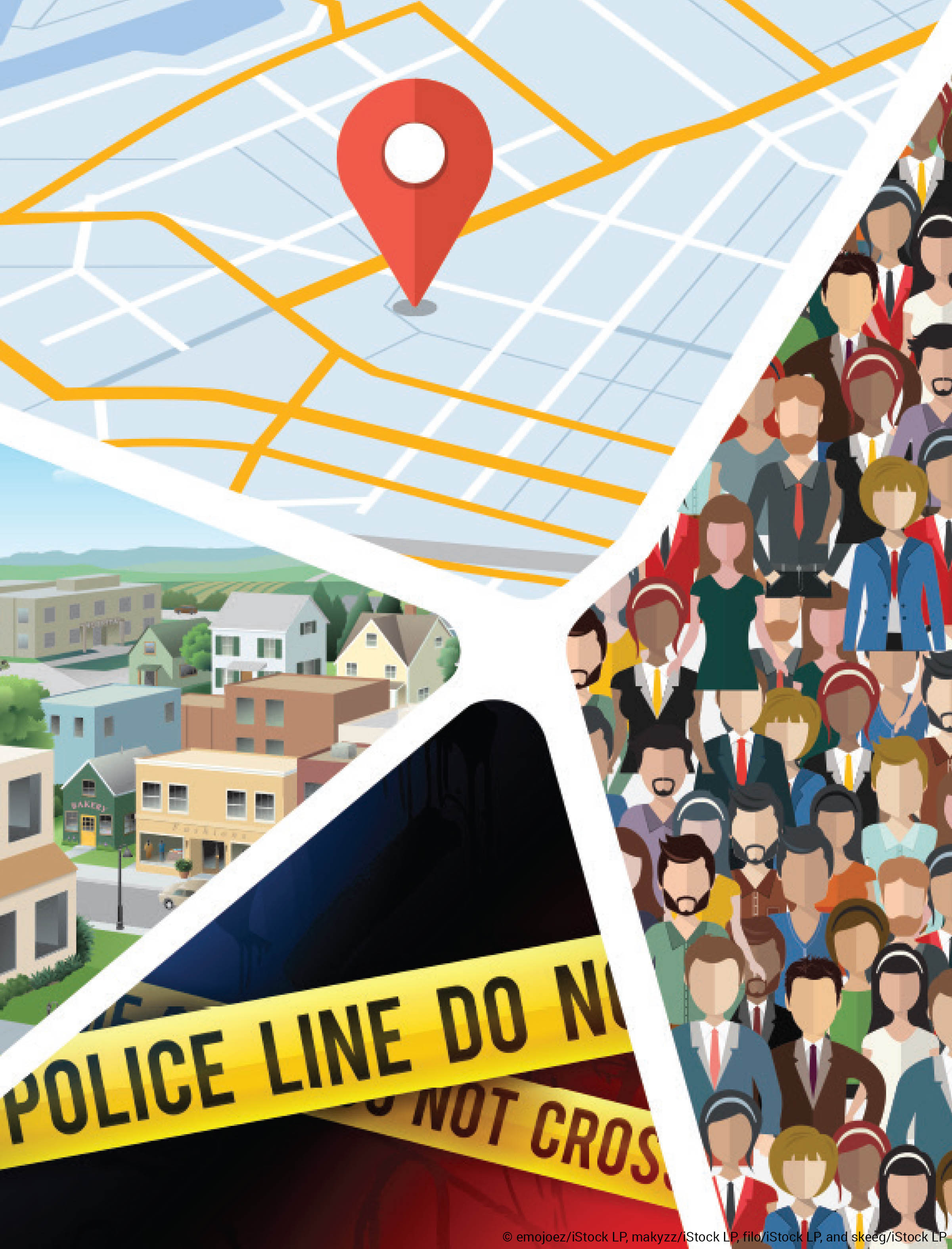 Illustration of map, buildings, a crowd, and police line tape