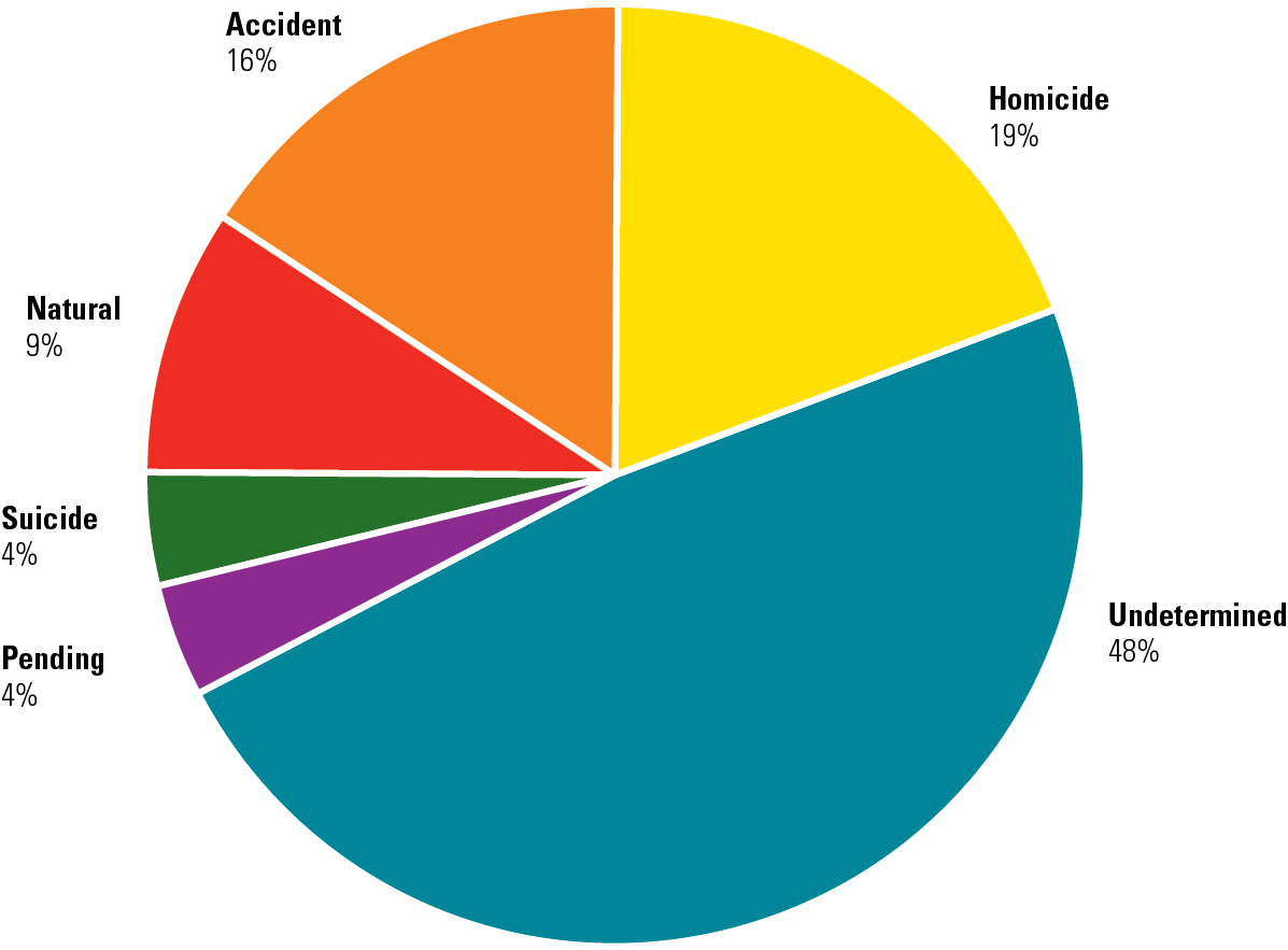 Manner of death of cases in NamUs: Undetermined 45%,Exhibit 4. Manner of Death in Active Unidentified Persons Cases in NamUs homicide 19%, Accident 16%, Natural 9%, Suicide 4%, Pending 4%