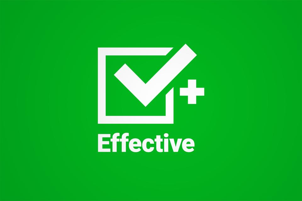 "Green card with a checkmarked box that says ""Effective"""