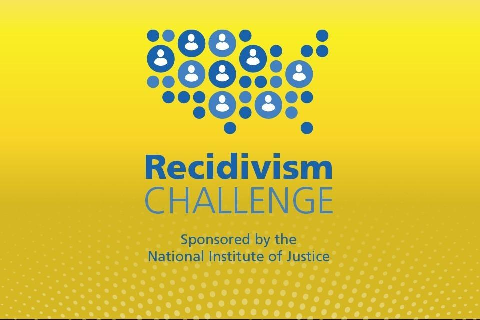 graphic of the United States in blue dots, some of which are people icons; text below reads Recidivism Challenge Sponsored by the National Institute of Justice
