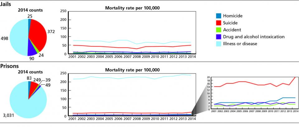 2014 Bureau of Justice Statistics data on distribution of mortality types in jails and state prisons, and long-term trends in mortality rates.